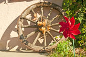 Wind wheel with cart wheel — Stock Photo