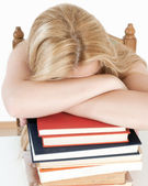 Tired student fell asleep — Stockfoto