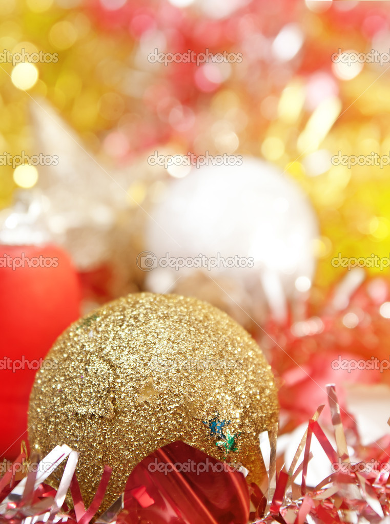 Christmas decoration with shiny glare over light background  Stock Photo #6985841