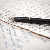 Old letter and fountain pen. — Foto de Stock