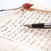 Love letter with a rose — Fotografia Stock