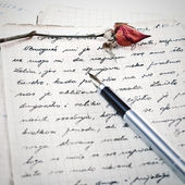 Love letter with a rose — Foto de Stock