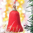 Red bell as a decoration — Stock Photo