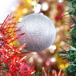 Silver ball as a decoration — Stock Photo