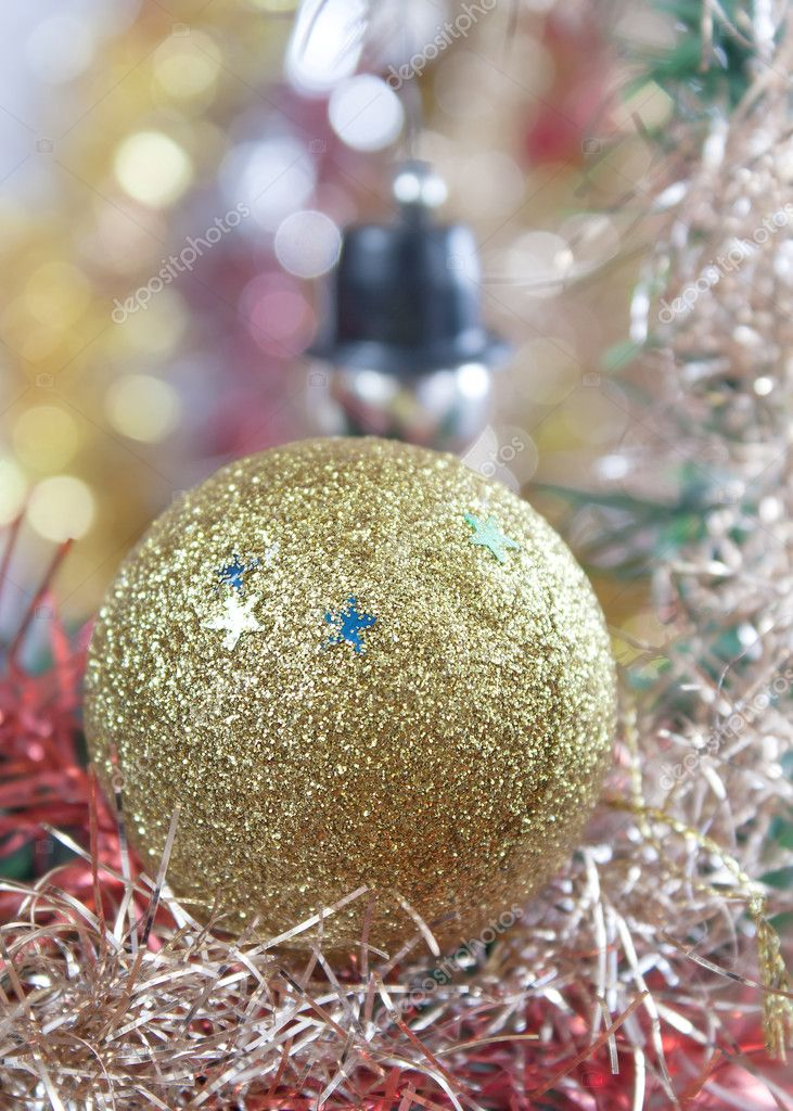 Christmas decoration ,ball and bokeh lights. — Zdjęcie stockowe #7122698
