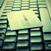 Credit cards on the keyboard — Foto de Stock