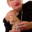 Elegant woman with cat — Stock Photo