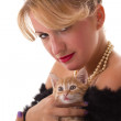 Stock Photo: Elegant woman with cat