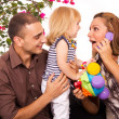 Family playing and smiling — Stock Photo