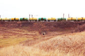 Oil and gasoline transportation by rail — Stock Photo
