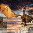 Dragon on castle — Stock Photo