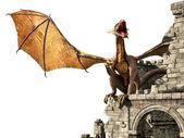 Evil dragon on castle — Stock Photo