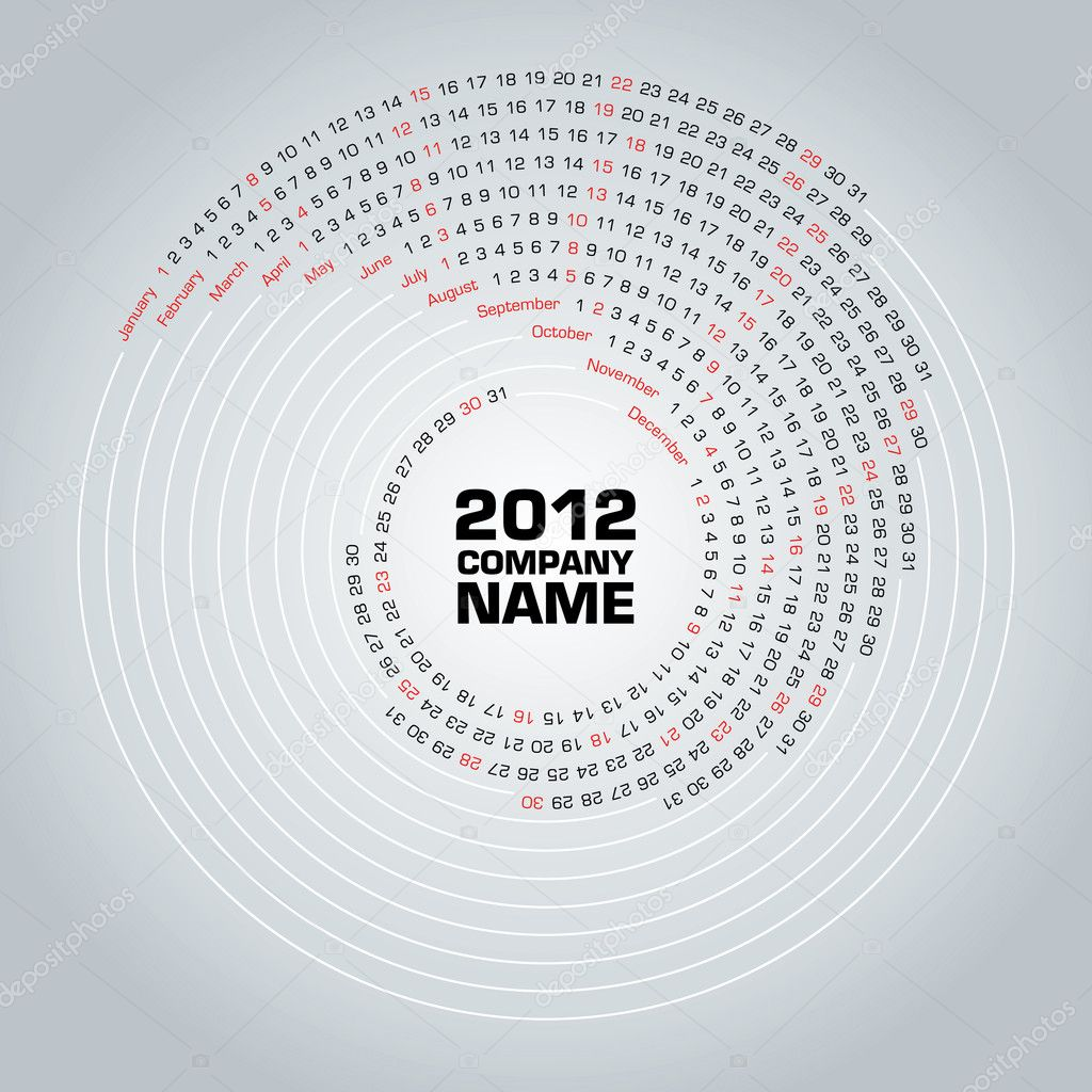 New, day, web, page, date, view, curl, plan, 2012, grid, week, year, table, clear, white, black, shape, basic, month, round, color, swirl, paper, style, agenda, — Stock Vector #7393109