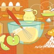 Stock Vector: Still life with baking supplies