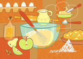 Still life with baking supplies — Stock Vector