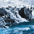Stock Photo: Hraunfossar waterfall in winter - Iceland