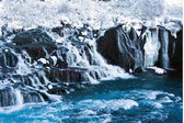 Hraunfossar waterfall in winter - Iceland — Stock Photo