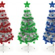 Red, green and blue decorated Christmas tree — Stock Photo