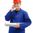 Happy engineer talking on the phone — Stock Photo #6897147