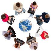 Soziales netzwerk-mitglieder, die von oben gesehen — Stockfoto