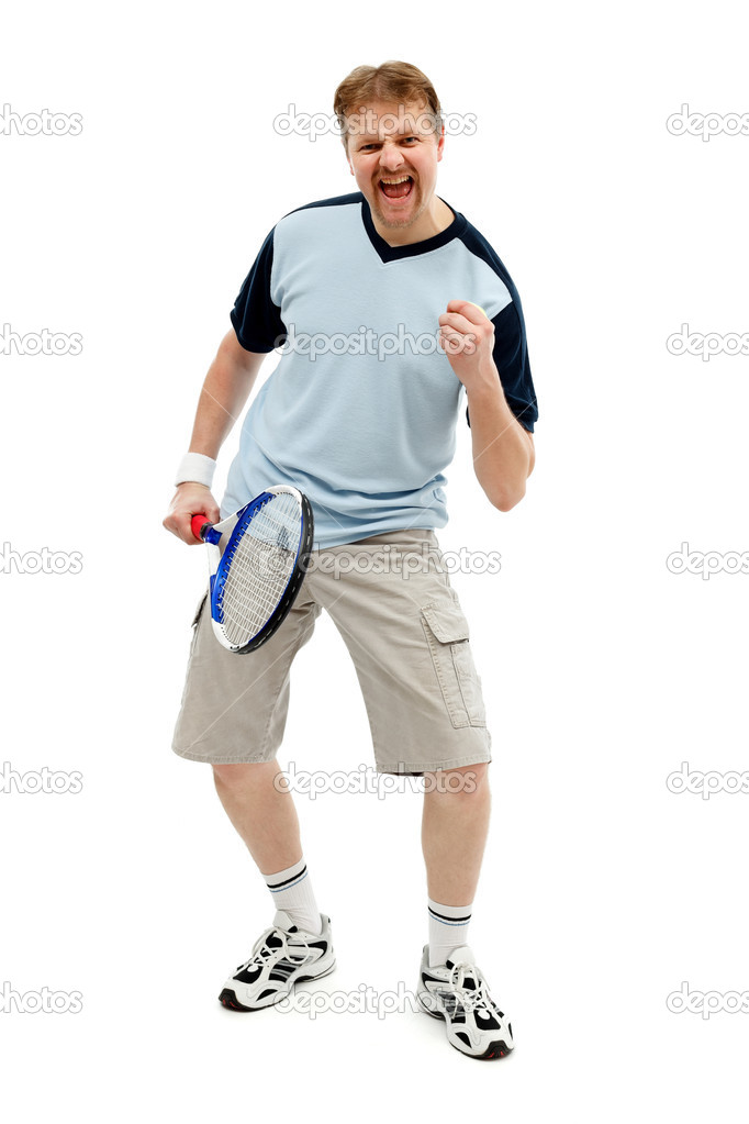 Winner tennis player with racket and ball, expressing happiness — Stock Photo #7057990