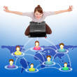Happy woman in social network — Stock Photo