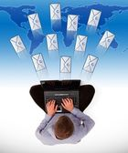 Man sending a lot of e-mails — Stock Photo