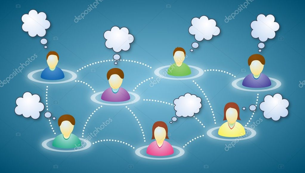 Illustration of connected social network members with blank faces and text clouds — Stock Vector #7123909