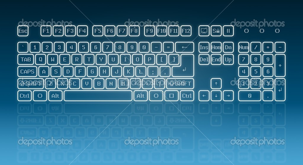 Glowing touch screen keyboard � Stock Vector � icefront #7123930