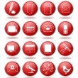 Communication icon set in red spheres — Stock Vector