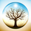 Autumn tree inside glass globe - Stok Vektör