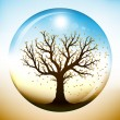 Autumn tree inside glass globe - Imagen vectorial