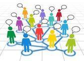 Membres du réseau social avec des nuages de texte — Vecteur
