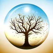 Autumn tree inside glass globe — Stock Vector