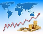 Rising gold value in the world — Stock Photo