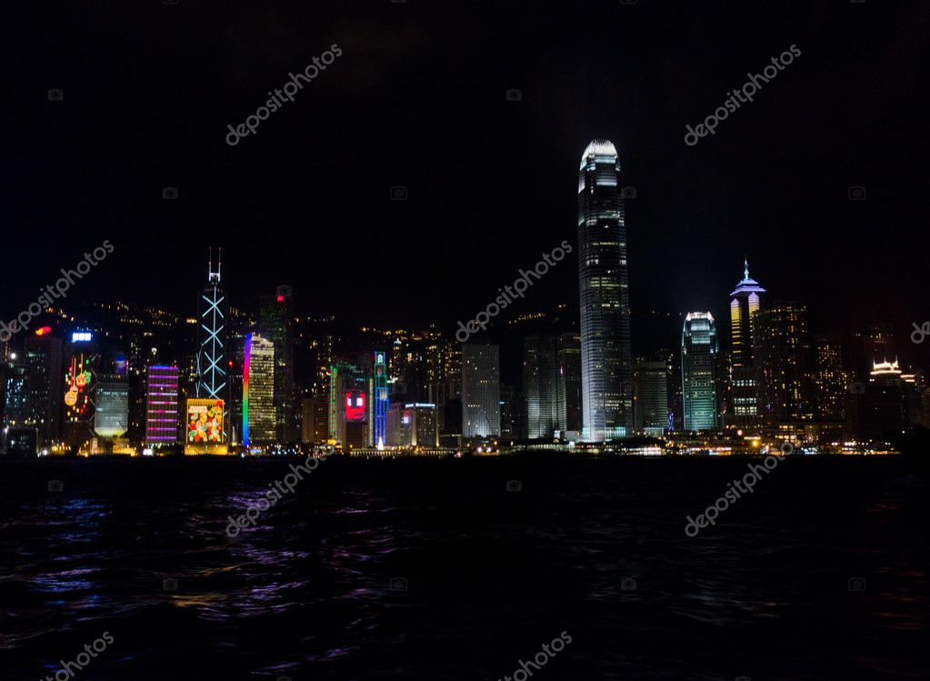 Hong Kong night scene. City landscape. — Stock Photo #7019533