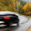 Black car on autumn road — Stock Photo #7157171