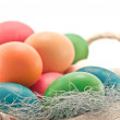 Easter background from colorful eggs - Stockfoto