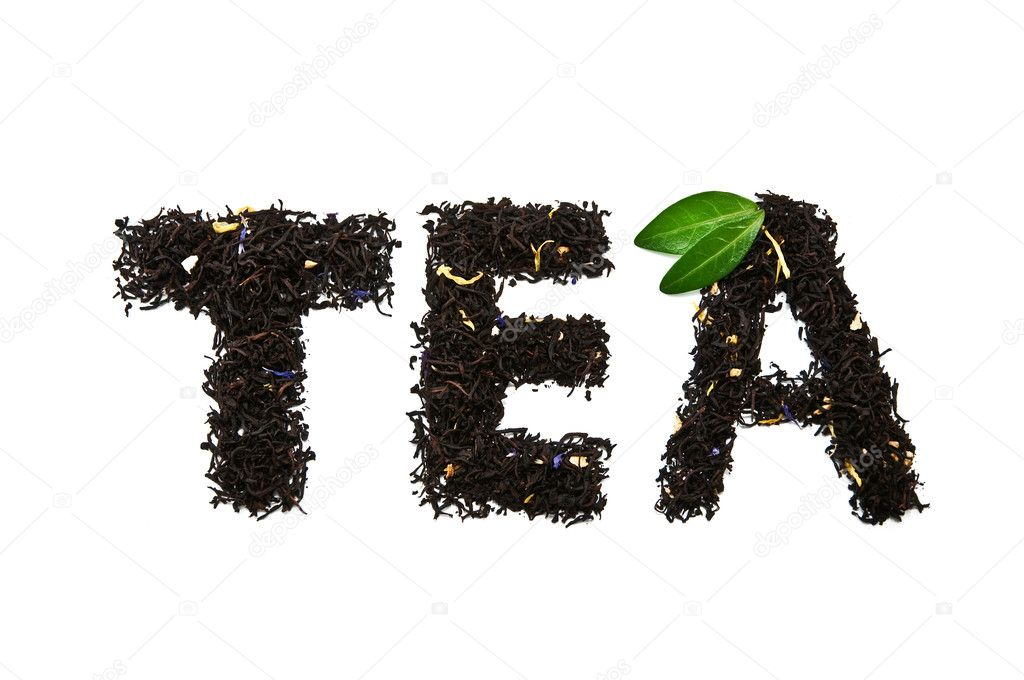 Word tea isolated on white  Stock Photo #7160382