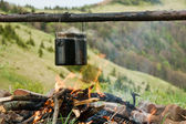 Camping potten i brand — Stockfoto