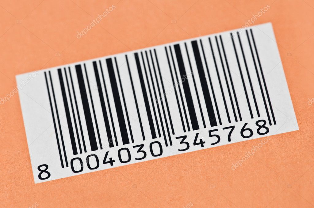 Barcode on orange background closeup — Stock Photo #7233227