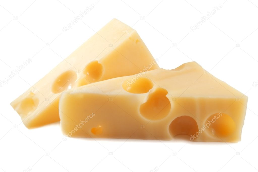 Two piece cheese on white  Stock Photo #7233923