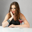 Stock Photo: Beautiful young woman with cocktail