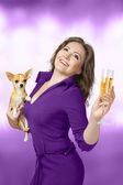 Happy woman with champagne — Stock Photo