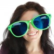 Woman in crazy glasses — Stock Photo