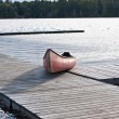 Canoe on Dock - Muskoka, Ontario, Canada — Stock Photo