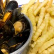 Stock Photo: Mussels and Fries Belgian Dish