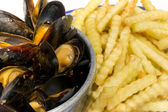 Mussels and Fries Belgian Dish — Stock Photo