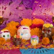 Mexican Day Of The Dead Altar Front View - Stock Photo