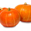 Three pumpkin on white background. — Stock Photo #7537945